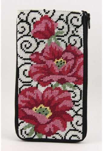 - Eyeglass Case - Poppies On Scrolls - Needlepoint Kit