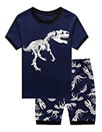 Family Little Boys Dinosaur Shorts Set Pajamas 100% Cotton Clothes Toddler Kid