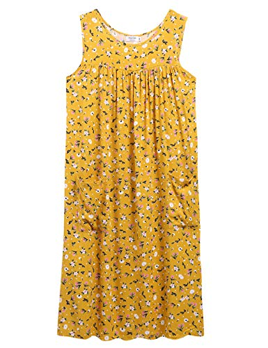 (Sleeveless Shift Dress Sundress Floral Print House Dresses for Women with Pockets (XL, Tulip Yellow))