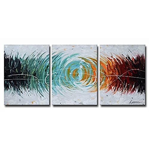 ARTLAND Modern 100% Hand Painted Abstract Oil Painting on Canvas  Colorful Space  3-Piece Gallery-Wrapped Framed Wall Art Ready to Hang for Living Room for ...  sc 1 st  Amazon.com & Colorful Orange Blue Red Wall Art: Amazon.com