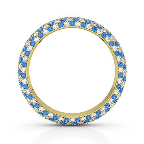 Or jaune 18 carats 0,60 CT G-H/VS sertie de diamants Coupe ronde Topaze bleue et bague éternité Agdr-1116