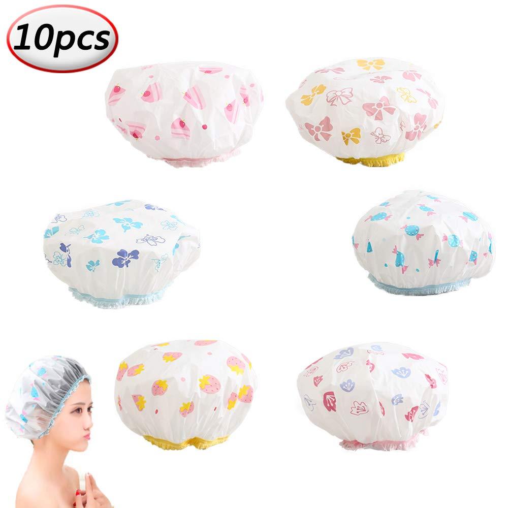 Womens Shower Caps Elastic Waterproof Plastic Bath Hair Cap for Salon Hair Cap Makeup Cleansing (10pcs) Pro-Noke