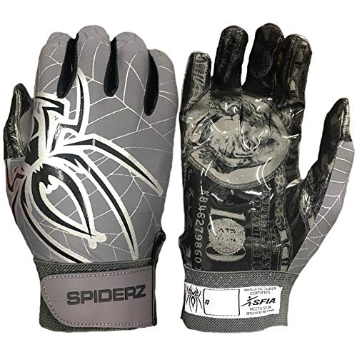 Spiderz Adult RAW Football Glove with Dirty Money Palms (Platinum/Black/Silver, X-Small)