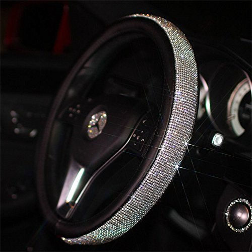 Sino Banyan New Girly Diamond Bling Steering Wheel Cover,15 Inch,Ultra Soft Leather,Black
