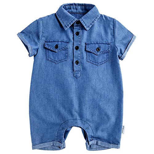 Y·J Back home Baby Boy Jeans Shorts Infant 1 Piece Shirt Polo Suit Point Collar Overalls Cotton Jumpsuit Denim Romper,3-6 Months