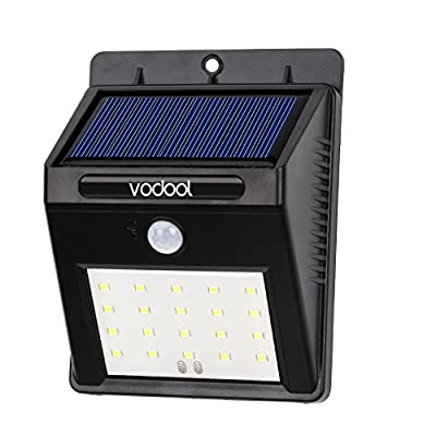 Vodool Solar lights, 20 led Bright LED Security Lighting ,Waterproof Wall Light Outdoor Motion Sensor Lighting for Garden, Patio, Fencing, and Pathway(Black-20 LEDs)