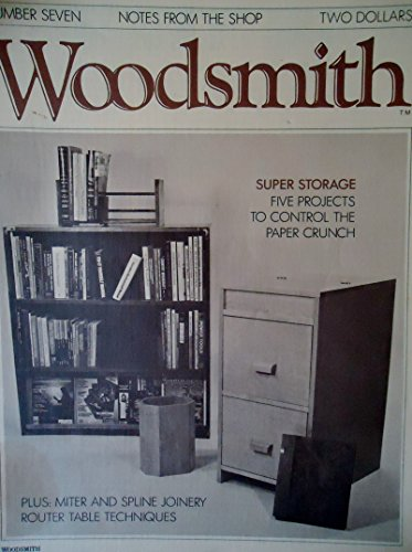 Woodsmith Magazine - January 1980, (No. 7) - Notes From the Shop - Super Storage - 5 projects to control the paper crunch, Miter and spline Joinery, Book Magazine Case, File Cabinet, Waste Basket, Looseleaf Binder, Router Table Techniques,