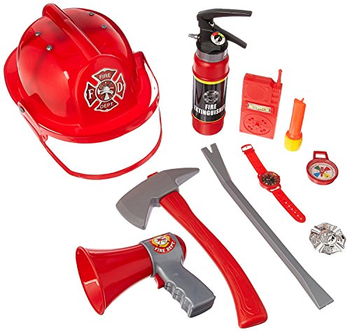 Liberty Imports 10 Pcs Fireman Gear Firefighter Costume Role Play Toy Set for Kids with Helmet and Accessories]()