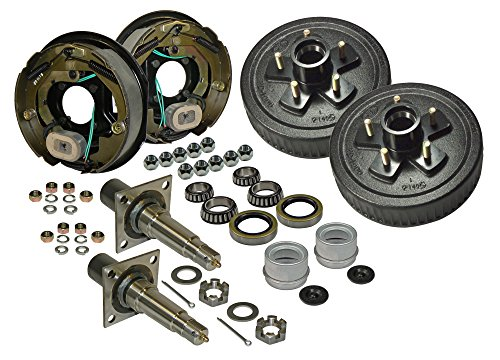 (Rigid Hitch Pair of 5-Bolt on 4-1/2 Inch Hub/Drum Assembly (AKRD-3500545F-HD-E) Includes (2) Flanged, 1-3/8 Inch to 1-1/16 Inch Tapered Spindles & Bearings with Electric Backing)