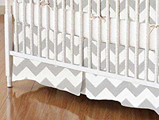 product image for SheetWorld 100% Cotton Percale Crib Skirt 28 x 52, Grey Chevron Zigzag, Made in USA