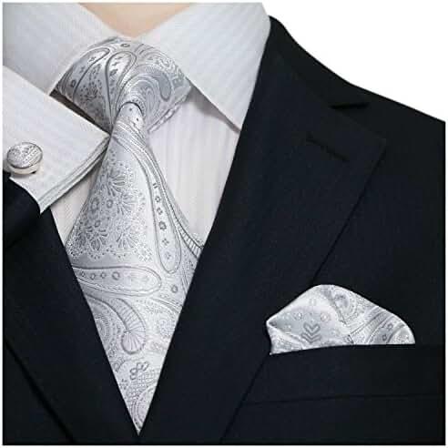 Landisun SILK Various Paisleys Mens SILK Tie Set: Necktie+Hanky+Cufflinks