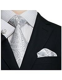 """Landisun 21N Paisleys Mens Silk Tie Set: Necktie+Hanky+Cufflinks Silver White, 3.25""""Wx59""""L"""