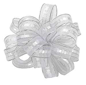 Offray Ilissa Sheer and Satin Craft Ribbon, 5/8-Inch Wide by 25-Yard Spool, White/Silver