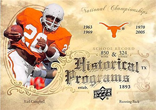Earl Campbell football card (University of Texas Longhorns) 2011 Upper Deck #HP19 Historical Programs from Autograph Warehouse