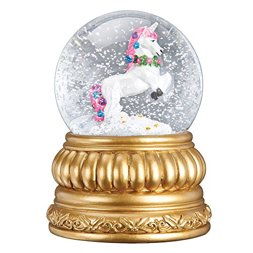 - Old World Christmas Prancing Unicorn Snow Globe Blower Antique Gold Fish Standard