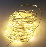 12APM Waterproof Copper Wire Starry String Fairy Lights USB Powered Hanging for Bedroom Indoor Outdoor Warm White Ambiance Lighting for Patio Wedding Decor