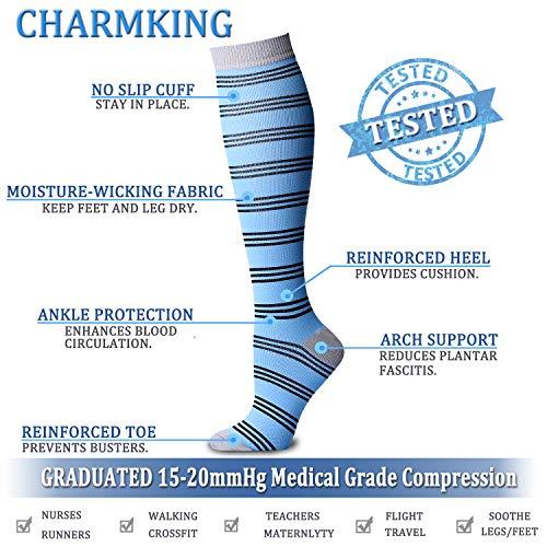 0096ea551e CHARMKING Compression Socks 15-20 mmHg is BEST Graduated Athletic & Medical  for Men &
