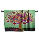 xixiBO Towels W35 x L12 Tree of Life,Colorful Magic Love Valentines Tree Blossomed Heart Round Leaves and Roots, Multicolor Bath Towel Fashion Wearable