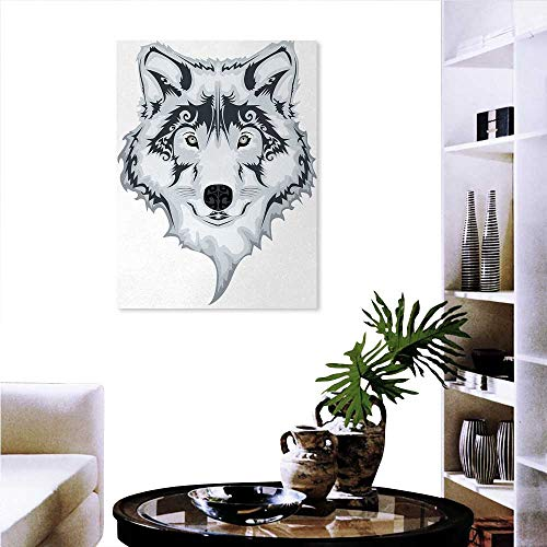 wall art painting for home decor The Majestic Beast Creature Head of a Wild Wolf Tribal Tattoo Design Art Print wall decorations for living room sticker 24