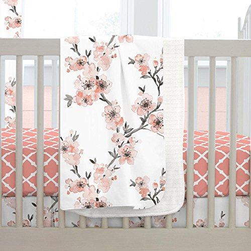 Carousel Designs Light Coral Cherry Blossom Crib Blanket