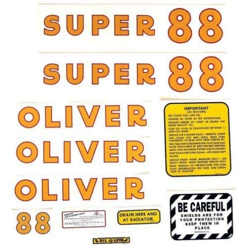 Tractor Decal Set, Oliver Tractor Super 88, Mylar