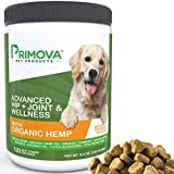Hemp Hip and Joint Supplement for Dogs 120 Soft chews - Improves Mobility, Reduces Pain and Inflammation with Organic Hemp Oil, Turmeric, Green Lipped Mussel, Coconut oil,Omega 3-6 - MADE IN USA