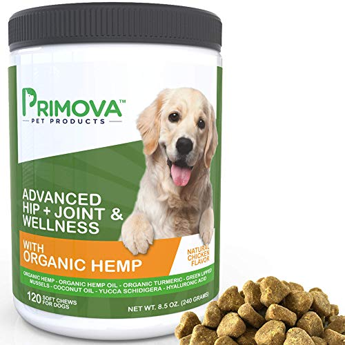 Hemp Hip and Joint Supplement for Dogs 120 Soft chews – Improves Mobility, Reduces Pain and Inflammation with Organic Hemp Oil, Turmeric, Green Lipped Mussel, Coconut oil,Omega 3-6 – MADE IN USA