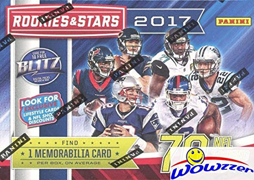 2017 Panini Rookies & Stars NFL Football EXCLUSIVE Factory Sealed Retail Box with Star Search MEMORABILIA Card! Look for RC & Autos of PATRICK MAHOMES, Deshaun Watson, Mitch Trubisky & More! WOWZZER!
