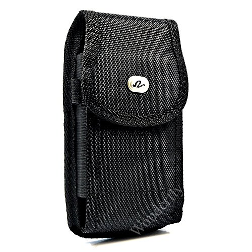 Wonderfly Pouch for Motorola Moto Z2 Force, a Large Vertical Heavy Duty Rugged Nylon Canvas Carrying Case with Belt Clip, Fits the Phone with OtterBox Communter, Dual Layer or Other Thick Case from Wonderfly