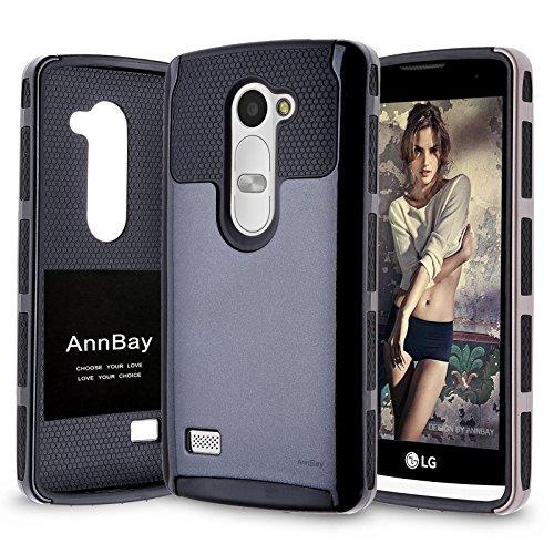 LG Tribute 2 Case,LG C40 Case,LG Leon / Tribute 2 /  LS665/ Destiny L21G / Power L22C / Risio Case,AnnBay High Impact 2in1 Hybrid Dual Layer Armor Heavy Duty Cover Hard Case+Soft TPU Case (Black)
