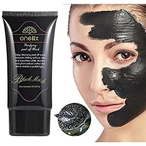 Charcoal Black Facial Mud Mask- Blackhead Peel Off Remover - Deep Skin Oil Control Pore Cleansing - Purifying Anti-Acne Treatment for Smoother and Tender Face - 50 ML Bottle