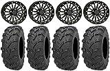 Bundle - 9 Items: ITP Black Ops Beadlock 14'' Wheels 26'' Bear Claw EVO Tires [4x110 Bolt Pattern 10mmx1.25 Lug Kit]