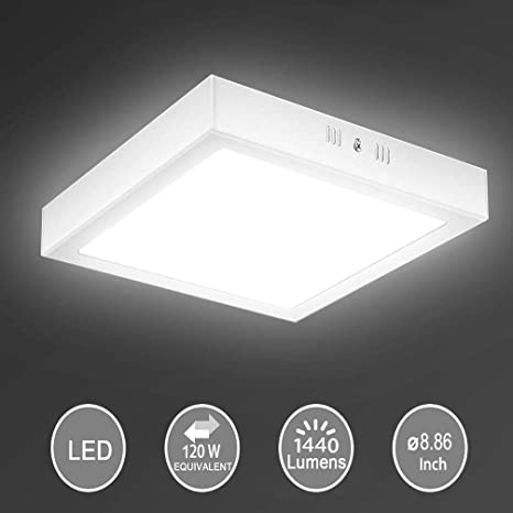 8 86 18w Led Flush Mount Ceiling Light Square Surface Mounted Panel Lamp Non Dimmable 1440lm Cool White 6000k 120v 150 Beam Angle Lighting