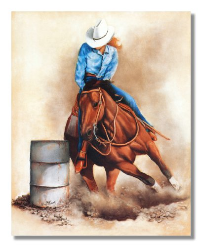 Western Rodeo Cowgirl Barrel Racer Hat Horse Animal Wall Picture Art (Cowgirl Barrel)