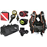 Sopras Sub Scuba Diver Package with BCD, Regulator, Octo, Oceanic VEO 100 NX Computer, Travel Bag, FREE Reg bag and Retractor.