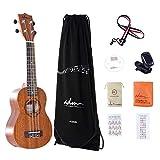 ADM Ukulele Soprano 21 Inch Mahogany Hawaiian Ukelele, Beginner Bundle with Teaching CD, Ukulele Strap, Tuner