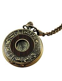 VIGOROSO Men's Retro Bronze China Twelve Animals Zodiac Steampunk Mechanical Pocket Watch