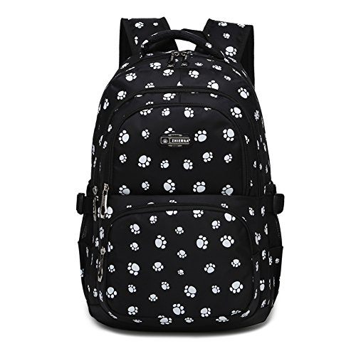 Dog Pawprint Cat Fingerprint Backpack for Elementary or Middle School Girls (Black)