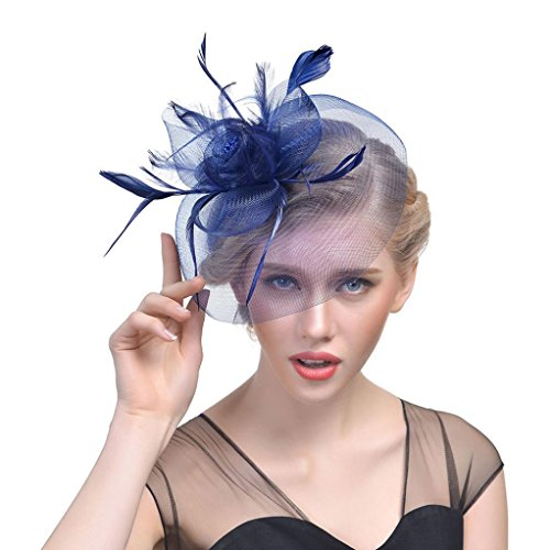 Malbaba Women's Fascinator Hats Feather Hair Accessories Clip and Headband for Wedding Prom Cocktail Tea Party (05) ()