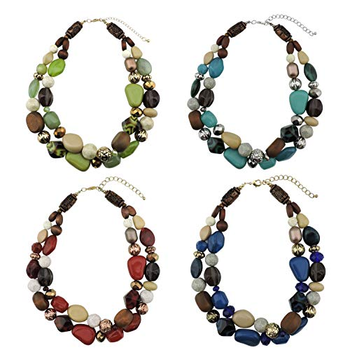 Bocar 2 Layer Statement Chunky Beaded Fashion Necklace for Women Gifts (NK-10384-1 ()
