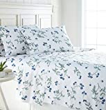 Southshore Fine Linens - BRITEYARN - Myosotis Scorpiodes Print - 300 Thread Count 100% Cotton, 4-Piece Extra Deep Pocket Sheet Set, Queen, White
