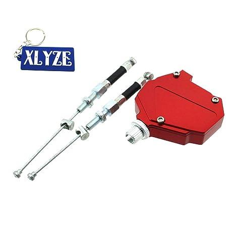 XLYZE Motocicleta roja Aluminio Truco Embrague Sistema de cable de tracción fácil para Yamaha Suzuki Kawasaki