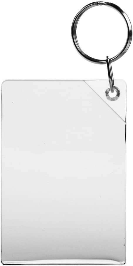 50x Blank Acrylic Keyrings 40x40mm Frame /& 34x34mm Photo key ring plastic 09012