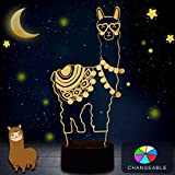 WHATOOK Alpaca Llama 3D Optical Illusion Lamp, Changeable Touch Sensor LED Night Light Toys for Children Kids Decor for Home Baby Room(Alpaca)