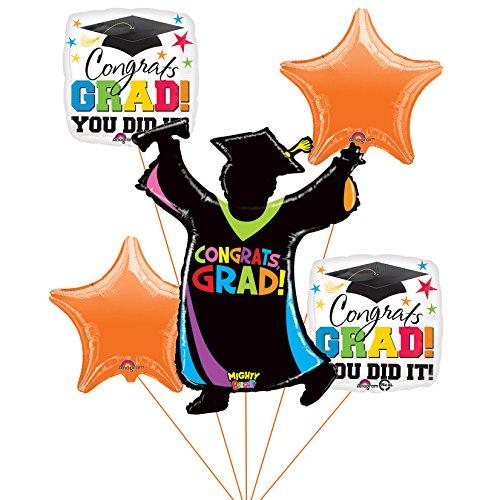 Veil Entertainment Congrats Grad You Did It Colorful School Graduation 5pc Balloon Pack, Orange
