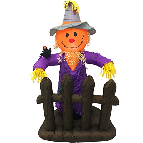 [5 Foot Scarecrow Pumpkin Halloween Thanksgiving Autumn Fall Party Portable Air Blown Inflatable Yard Decoration with LED Lights and Blower Fan] (Halloween Yard)