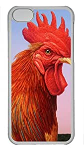 Shell Case for iphone 5C with Big Red Rooster DIY Fashion PC Transparent Hard Skin Case for iphone 5C