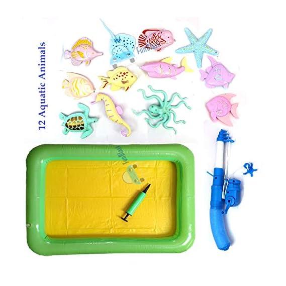 FunBlast Magnetic Fishing Bath Toy with 12 Aquatic Animals Fishing Rod & Air Tub Toys for Kids, Girls & Boys