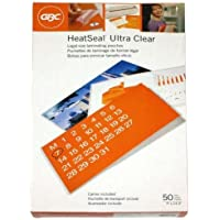 GBC Laminating Sheets / Pouches, HeatSeal Ultra Clear, Legal Size, 9x14-1/2, 10 Mil, 50 Pack (3200413)