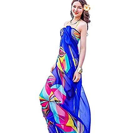 9317d3499950c Amazon.com: Sexy Women Chiffon Beach Swimwear Sarong Wrap Dress Bikini  Cover Up Scarf (Blue): Home & Kitchen
